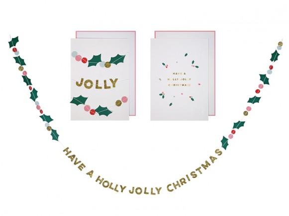Meri Meri 3D Weihnachtskarte HOLLY JOLLY CHRISTMAS