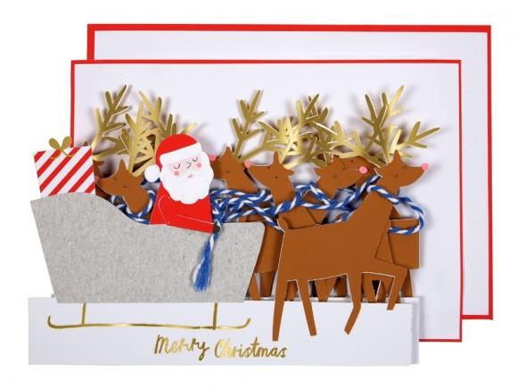 Meri Meri 3D Weihnachtskarte SANTA'S SCHLITTEN