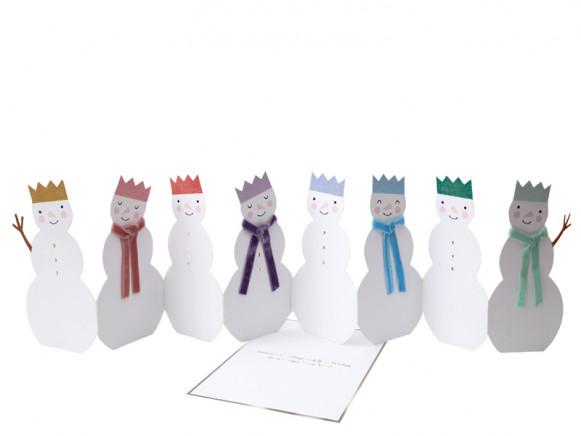 Meri Meri 3D Weihnachtskarte SCHNEEMÄNNER