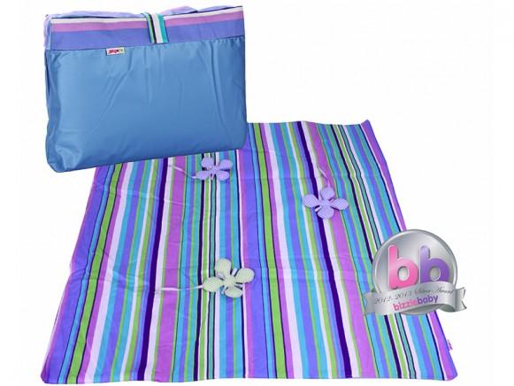 Minene Picknickdecke Krabbeldecke Streifen blau