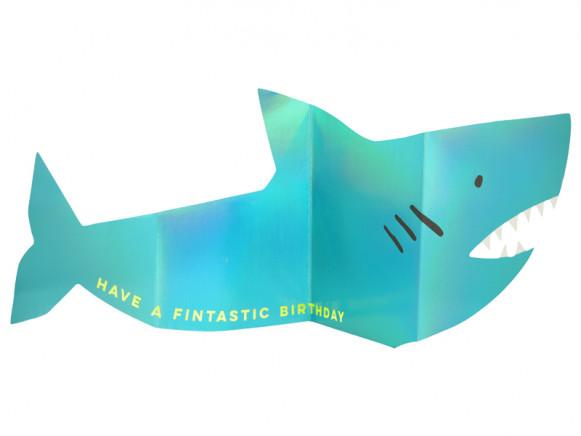 Meri Meri 3D-Grußkarte HAI metallic