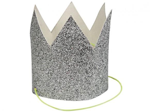 Meri Meri 6 Mini KRONEN silber-glitzer