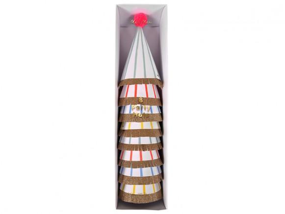 Meri Meri Partyhüte mit Streifen