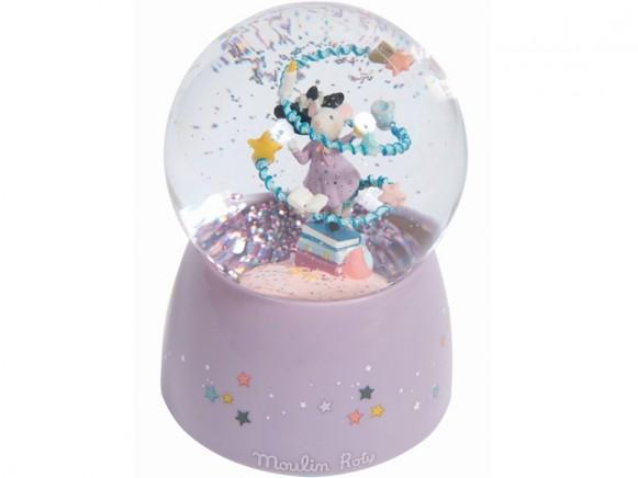 Moulin Roty Schneekugel mit Musik MAUS