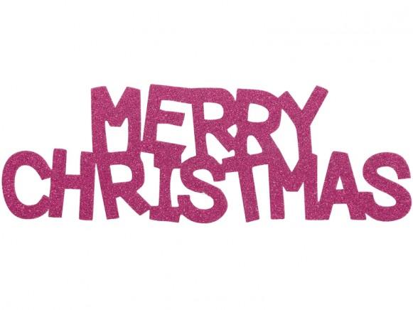 Overbeck & Friends Glitzer-Schriftzug Merry Christmas pink
