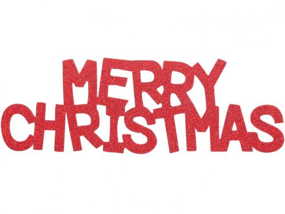 Overbeck & Friends Glitzer-Schriftzug Merry Christmas rot