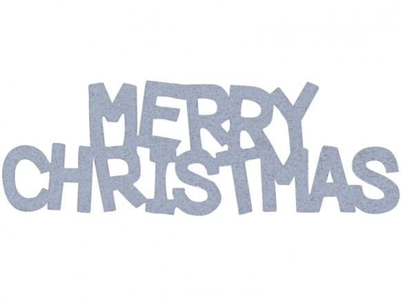 Overbeck & Friends Glitzer-Schriftzug Merry Christmas silber