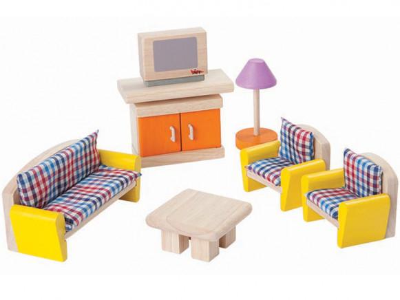 PlanToys Puppenhaus Wohnzimmer KARIERT