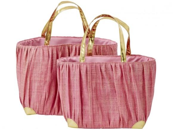 RICE Basttasche mit goldfarbenen Henkeln rosa