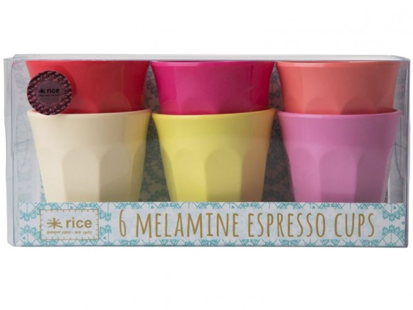 RICE Melamin Espresso Becher SUNNY Farben