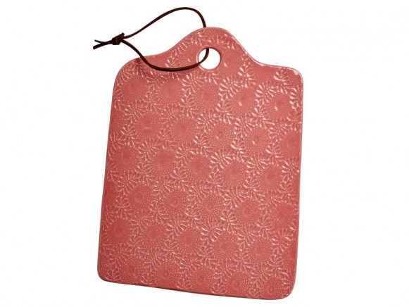 RICE Handgefertigte Käseplatte aus Keramik koralle