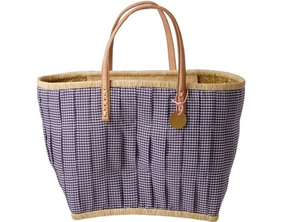RICE Einkaufstasche mit Ledergriffen violett kariert