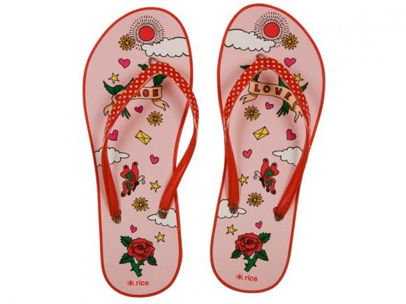 Rosa Flip flops mit Peace & Love Motiv von RICE
