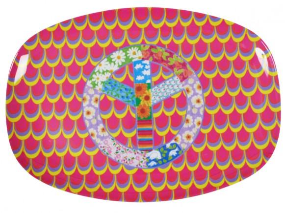 RICE Servierteller aus Melamin mit Friedenssymbol