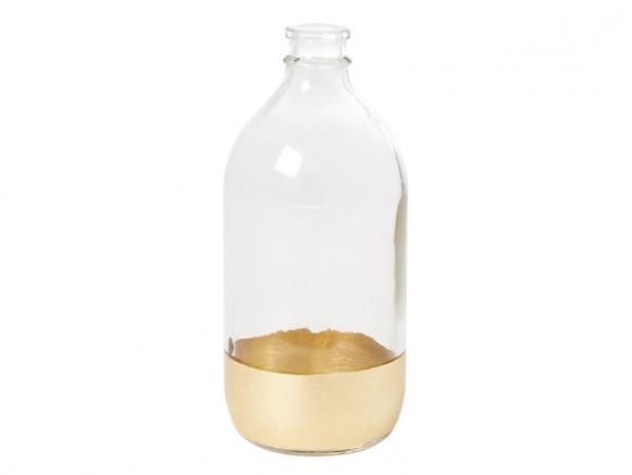 RICE Glasvase Large transparent & gold