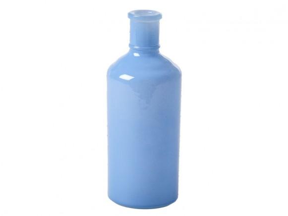 RICE Große Glasvase in Flaschenform dunstblau