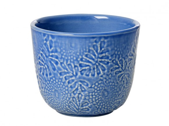 RICE Handgefertigte Kaffeetasse aus Keramik blau