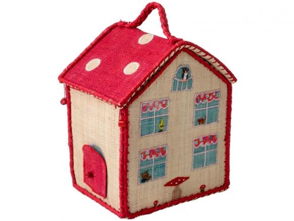 RICE Kinder Basttasche in Haus-Form