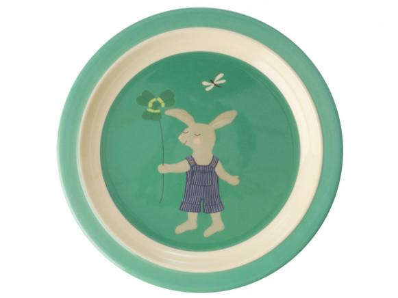 RICE Kinderteller BUNNY grün