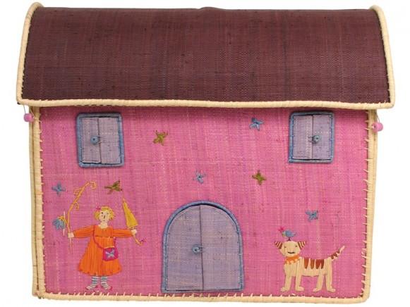Mittelgroße Krimskramskiste in Hausform mit braunem Dach von RICE