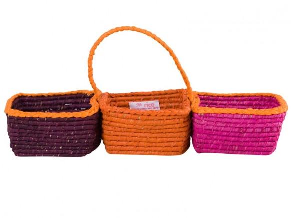 3er-Korb mit Henkel in violett/orange/pink von RICE Dänemark