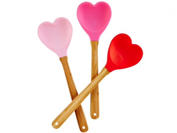 RICE Küchenspatel Herz hellrosa/fuchsia/rot