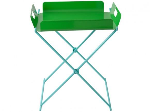 RICE Tablett-Tisch aus Metall in grün-mint