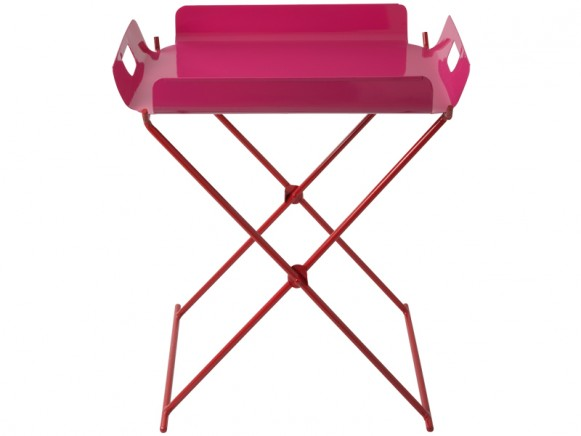 RICE Tablett-Tisch aus Metall in fuchsia (B-WARE)