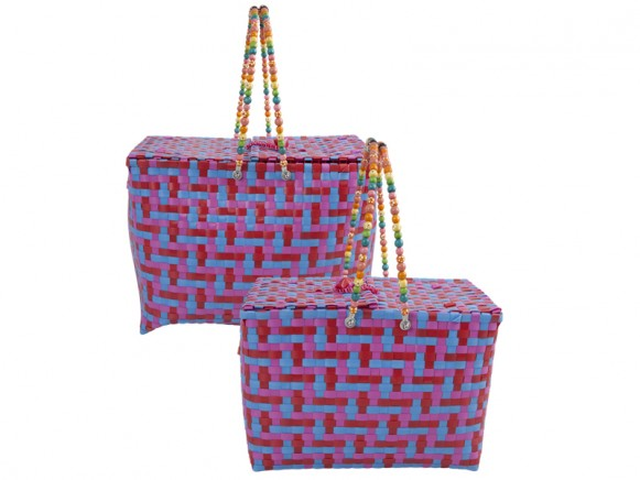 RICE Picknickkorb in rot-fuchsia-blau