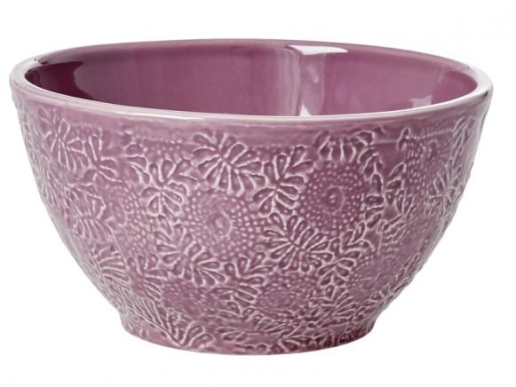 RICE Handgefertigte Keramik Salatschüssel lavendel