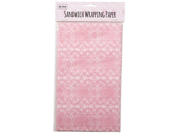 RICE Sandwichpapier SPITZENMUSTER rosa