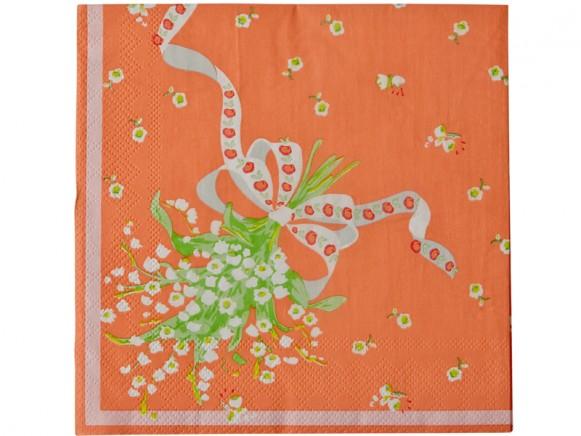 RICE Papierservietten Vintage-Look (orange)
