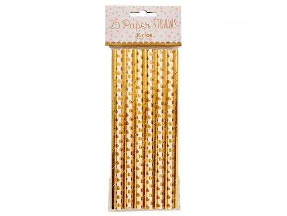 RICE 25 Strohhalme gold