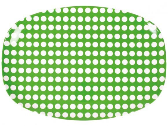 Servierteller in grün mit weißen Punkten von RICE