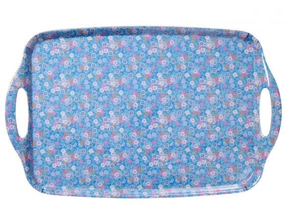 RICE Melamin-Tablett Mini-Blumen blau