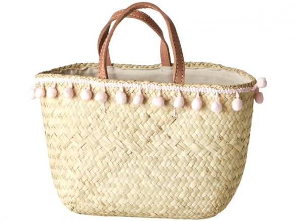 RICE Kindertasche Bast PomPoms small