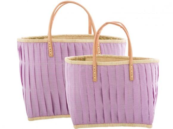 RICE Einkaufstasche mit Ledergriffen lavendel-weiß kariert