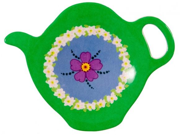 Teebeutelteller aus Melamin grünem Blumenkreis von RICE
