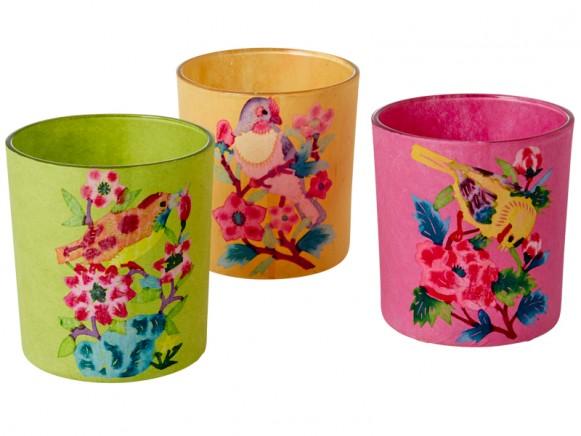 RICE Teelichtglas mit Vögeln