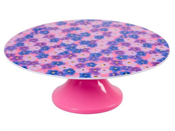 Tortenplatte aus Melamin mit pinkem Funky-Muster von RICE