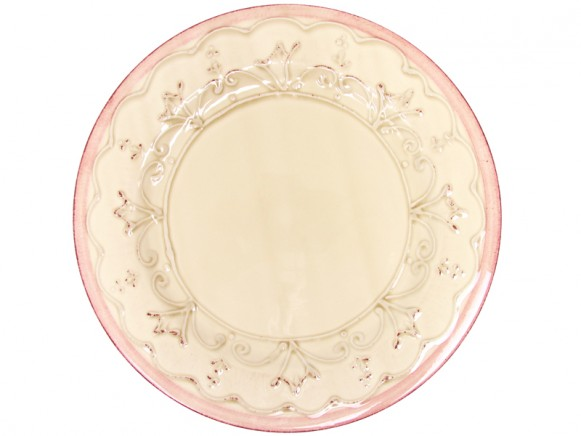 RICE Toskana Teller mit Ornamenten und rosa Rand