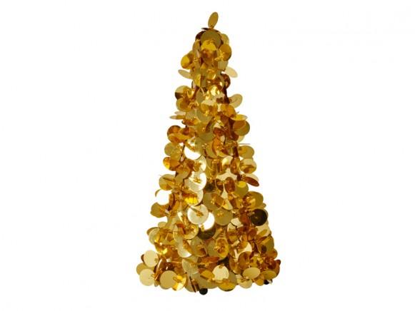 RICE Weihnachtsbaum Pailletten gold medium