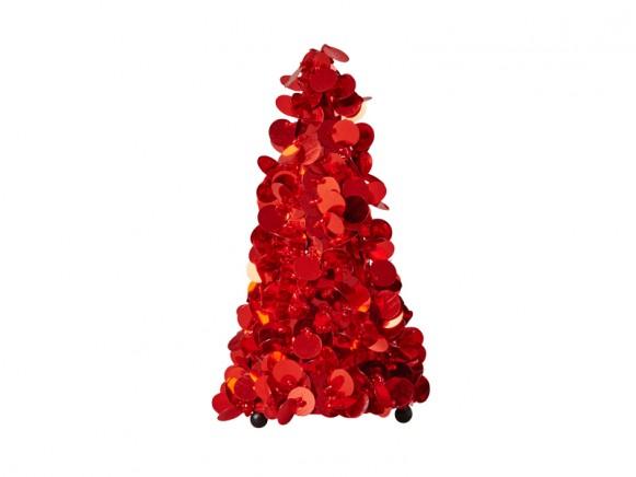 RICE Weihnachtsbaum Pailletten rot klein
