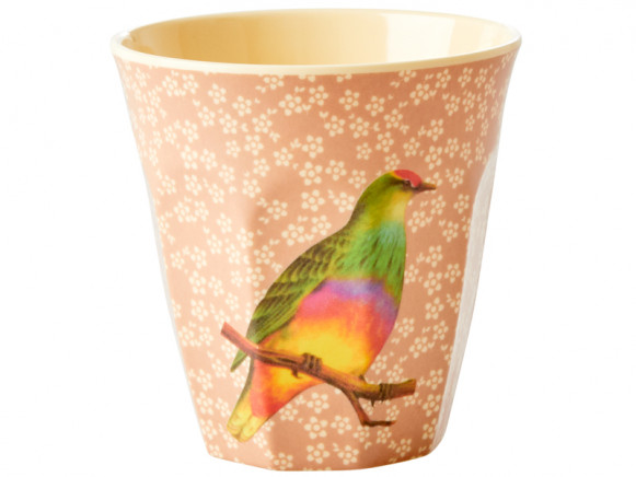 RICE Melaminbecher VINTAGE BIRD nougat