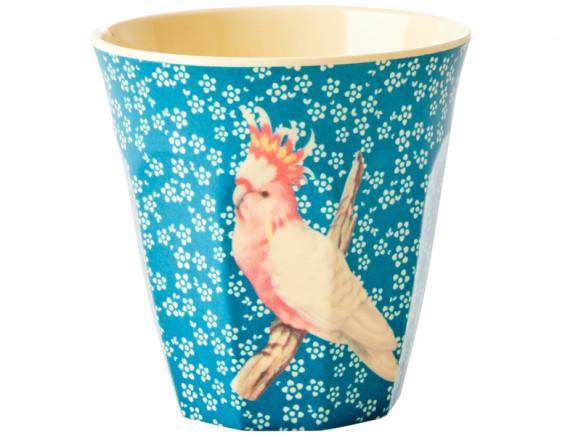 RICE Melaminbecher VINTAGE BIRD blau