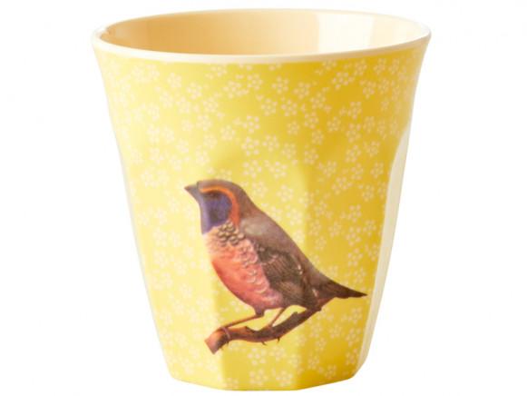RICE Melaminbecher VINTAGE BIRD gelb