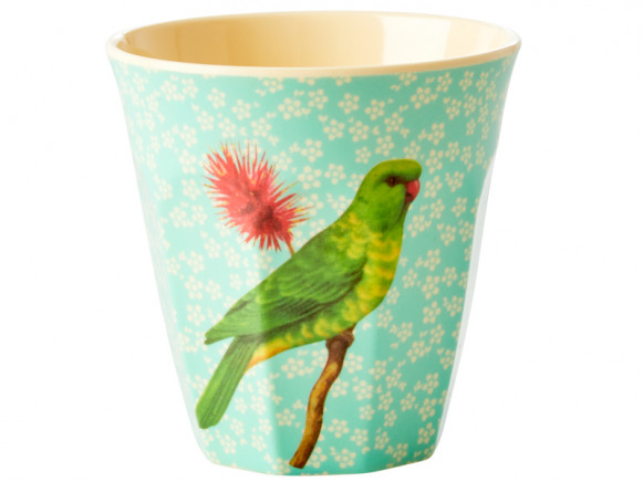 RICE Melaminbecher VINTAGE BIRD mint