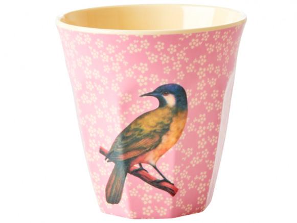 RICE Melaminbecher VINTAGE BIRD rosa