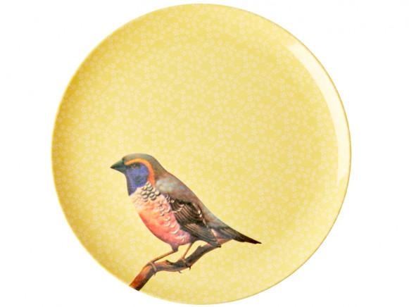 RICE Großer Melaminteller VINTAGE BIRD gelb