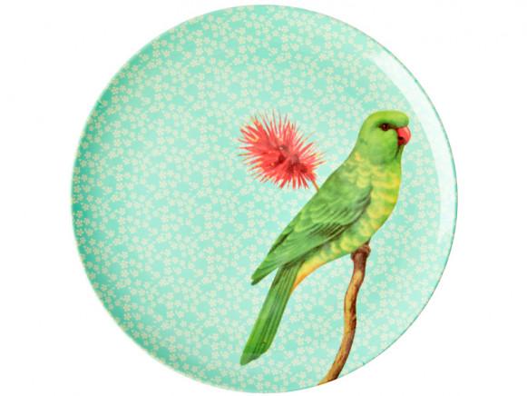 RICE Großer Melaminteller VINTAGE BIRD mint